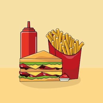 Ilustração de sanduíche, batatas fritas e molho.