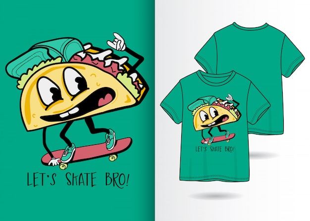 Ilustração de sanduíche bonito mão desenhada com design de camisa de t