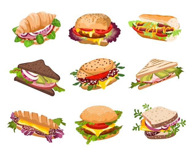 Ilustração de sanduíches