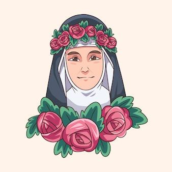 Ilustração de santa rosa de lima desenhada à mão