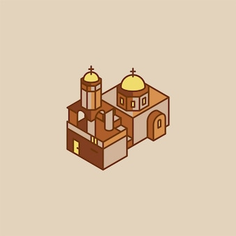 Ilustração, de, santorini, grécia