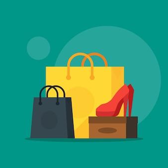 Ilustração de sapato e cosméticos com sacola de compras, mostrando a venda