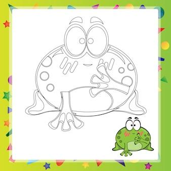 Ilustração de sapo de desenho animado - livro de colorir - vetor