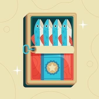 Ilustração de sardinha de design plano
