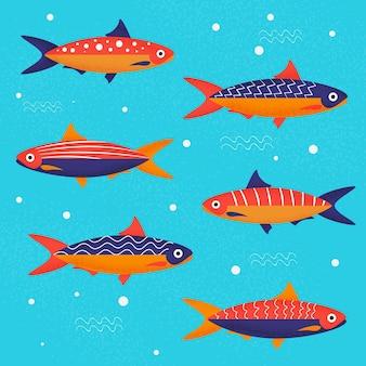 Ilustração de sardinha deliciosa de design plano