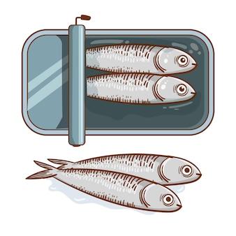 Ilustração de sardinha em lata desenhada à mão