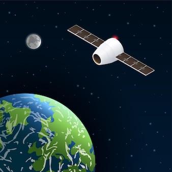 Ilustração de satélite de telecomunicações no espaço