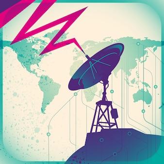 Ilustração de satélite retrô