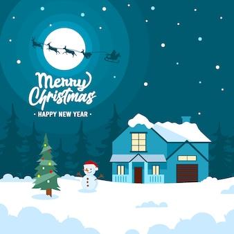 Ilustração de saudação de feliz natal