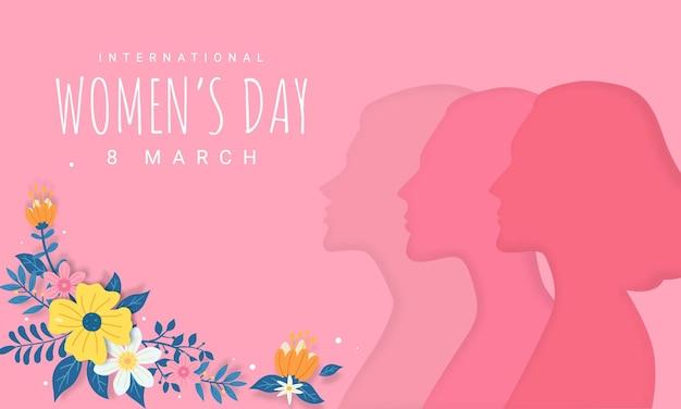 Ilustração de saudação do dia da mulher feliz. silhueta de mulher diversa recortada em papel 3d com decoração floral.