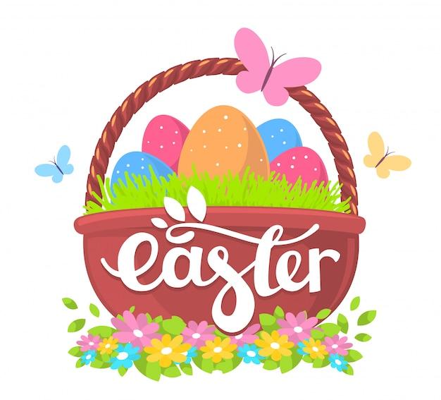 Ilustração de saudações de feliz páscoa com cesta grande com ovos coloridos e texto em fundo branco.