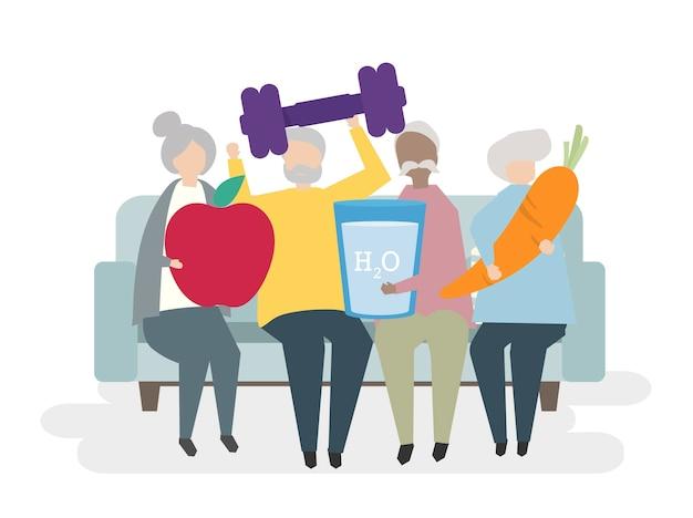 Ilustração, de, saudável, seniores
