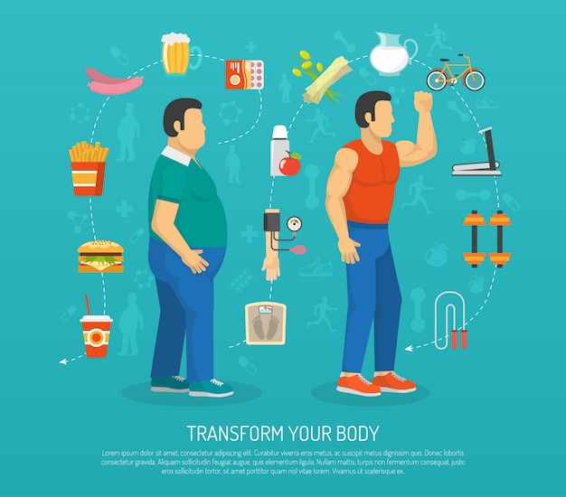 Ilustração de saúde e obesidade
