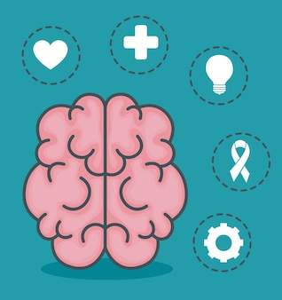 Ilustração de saúde mental com elementos de saúde e