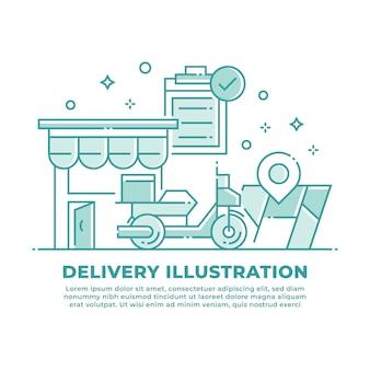 Ilustração de scooter de entrega e envio