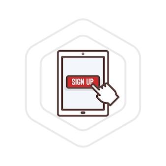 Ilustração de se inscrever em um tablet