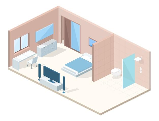Ilustração de seção transversal de quarto de hotel