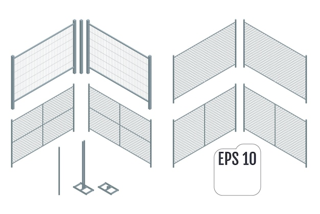 Ilustração de seções de cerca de metal isométrica