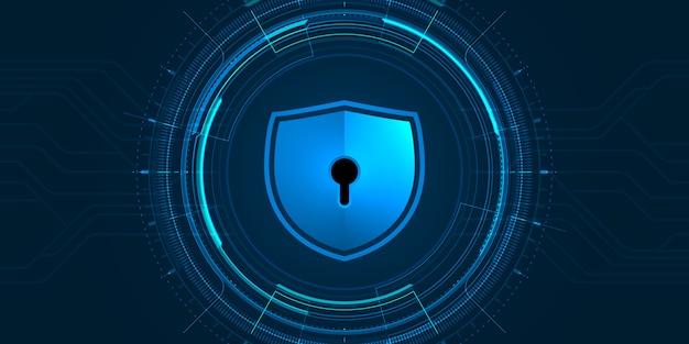 Ilustração de segurança cibernética, escudo azul e interface futurista do círculo em fundo escuro.