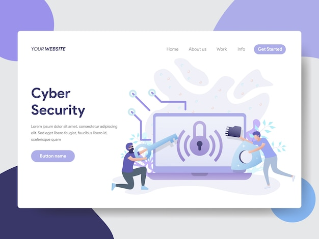 Ilustração de segurança cibernética para páginas da web