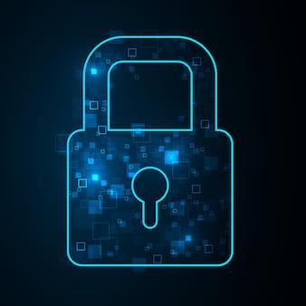 Ilustração de segurança cibernética, pixel de luz azul de dispersão de símbolo na apresentação de fundo escuro.