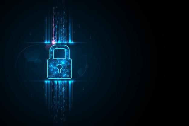 Ilustração de segurança cibernética, símbolo de bloqueio e dispersão de dados de pixel de luz azul na apresentação de fundo escuro.