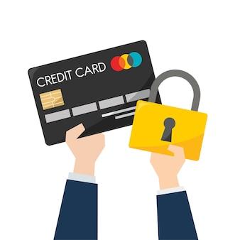 Ilustração de segurança de cartão de crédito