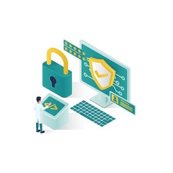 Ilustração de segurança de dados isométrica, segurança de dados de pessoas em design de estilo isométrico