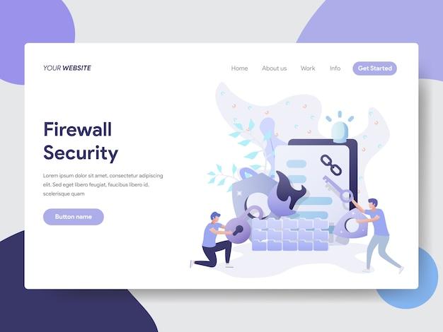 Ilustração de segurança de firewall para página do site