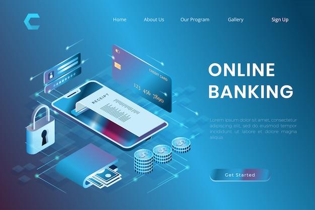 Ilustração de segurança de pagamento on-line, transações com cartão de crédito, banco on-line em estilo 3d isométrico
