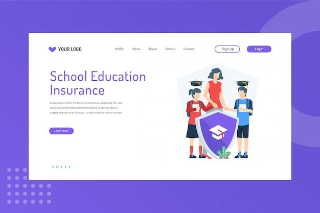 Ilustração de seguro educacional escolar na página de destino