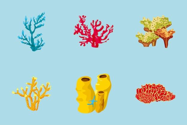Ilustração de seis elementos da natureza da vida marinha do pacote