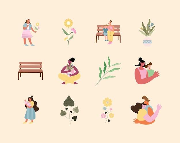 Ilustração de seis mães e conjunto de ícones