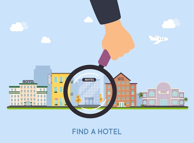 Ilustração de seleção de hotel