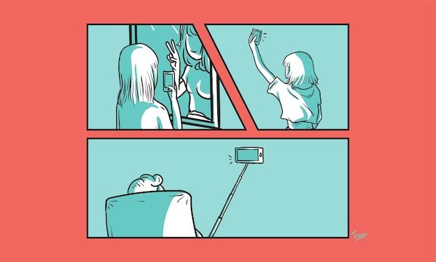Ilustração, de, selfie, conceito