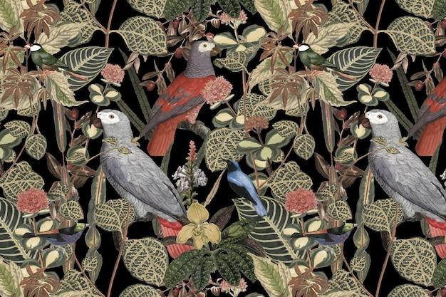 Ilustração de selva de vetor de fundo padrão de pássaro