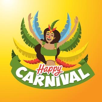 Ilustração de senhora de carnaval