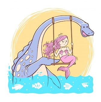 Ilustração de sereia e lago ness