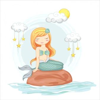 Ilustração de sereia fofa, sentado em uma pedra com nuvens e estrelas mão desenhada.