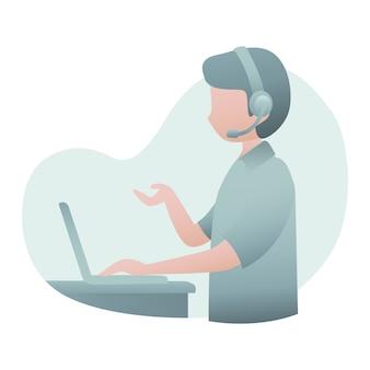 Ilustração de serviço ao cliente com fone de ouvido de desgaste de homem e falar ao cliente via on-line