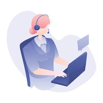 Ilustração de serviço ao cliente com fone de ouvido de desgaste de mulher e bate-papo com o cliente via laptop