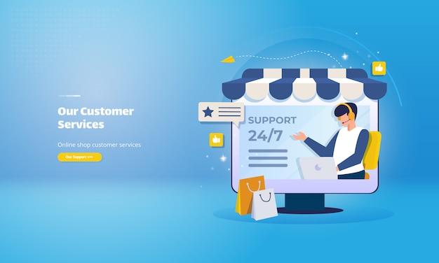 Ilustração de serviço ao cliente de loja online para contato com a página da web de suporte