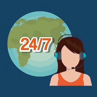 Ilustração de serviço de call center