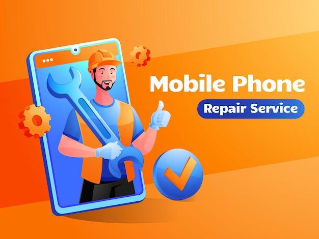 Ilustração de serviço de conserto de celular