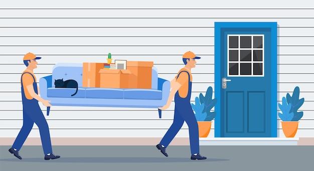 Ilustração de serviço de entrega e realocação. mudança de casa.