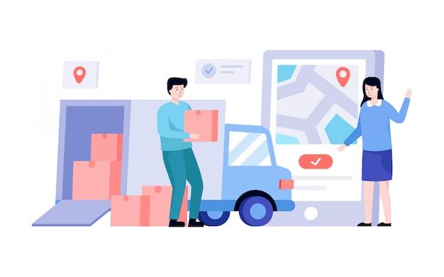 Ilustração de serviço de entrega