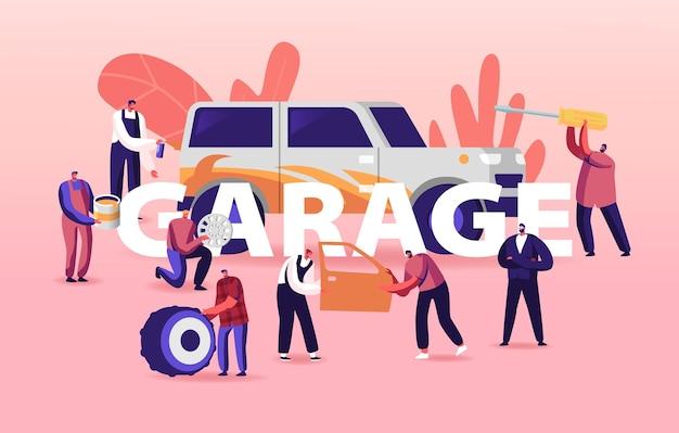 Ilustração de serviço de garagem