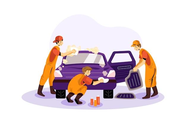Ilustração de serviço de lavagem de carros
