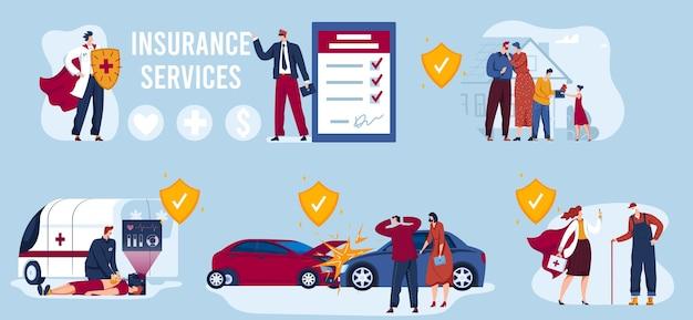 Ilustração de serviço de seguro.