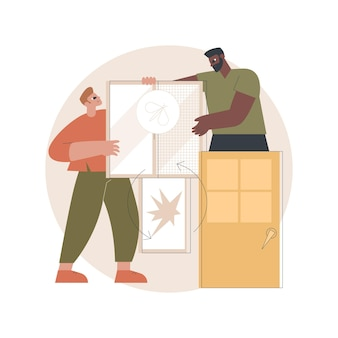 Ilustração de serviços de portas e janelas